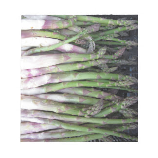 Fresh asparagus hand picked from the garden notepad