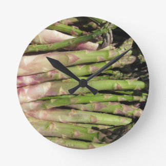 Fresh asparagus hand picked from the garden round clock
