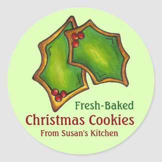 Fresh-Baked Christmas Cookie Holly Stickers