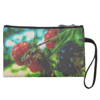 Fresh Berries on the Vine Women's Suede Clutch Wristlet Clutches