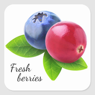 Fresh berries square sticker