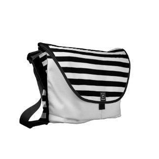 Fresh Black and White Narrow Stripes Messenger Bags