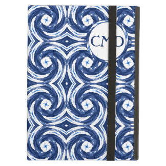 Fresh Blue and White Tie-Dye Style Swirls Pattern iPad Air Cases