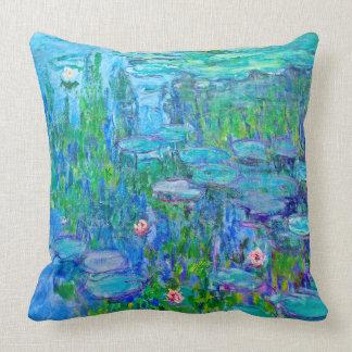 Fresh Blue Water Lily Pond Monet Fine Art Cushion
