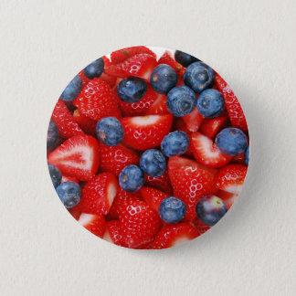 Fresh blueberries and strawberries 6 cm round badge