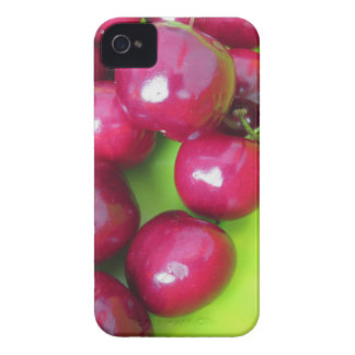 Fresh cherries on green background iPhone 4 Case-Mate case