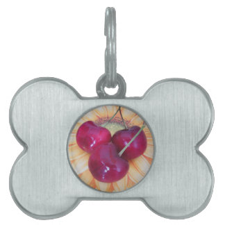 Fresh cherries on sunflower background pet tags
