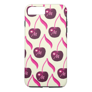 Fresh Cherries Pattern with All over Monogram iPhone 8 Plus/7 Plus Case