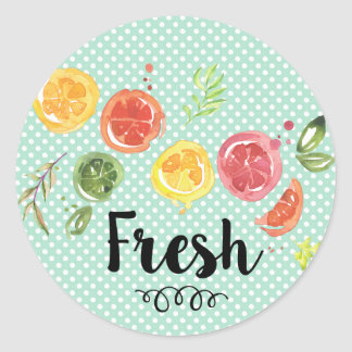 Fresh -  Citrus Fruits in Watercolor Classic Round Sticker