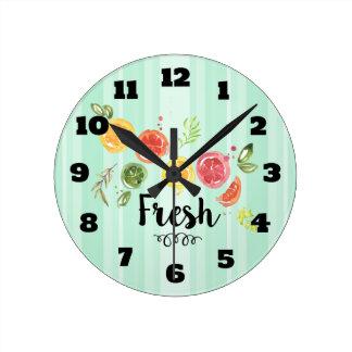 Fresh -  Citrus Fruits in Watercolor Round Clock