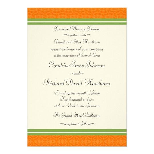 Fresh Citrus Orange Green Wedding Invitations