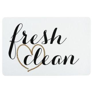 """Fresh & Clean"" Fancy Black Font With Gold Heart Floor Mat"
