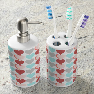 Fresh design of hearts in aqua rose & salmon soap dispenser and toothbrush holder