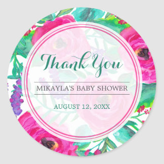 Fresh Florals Baby Shower Favor Sticker