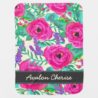 Fresh Florals Personalized Baby Blanket