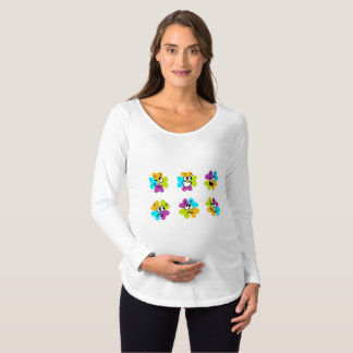 Fresh Flowers Making Funny Faces Maternity T-Shirt