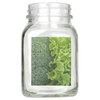 Fresh Food Lettuce and Broccoli Mason Jar