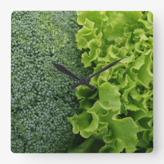 Fresh Food Lettuce and Broccoli Square Wall Clock