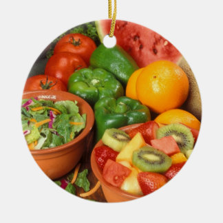 Fresh fruit and vegetables ceramic ornament