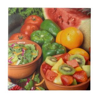 Fresh fruit and vegetables ceramic tile
