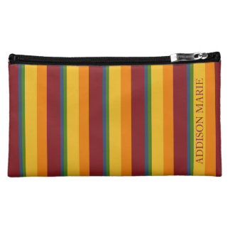 Fresh Fruit Palette Stripe Personalized Cosmetic Bag