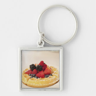 Fresh fruit waffle Silver-Colored square key ring