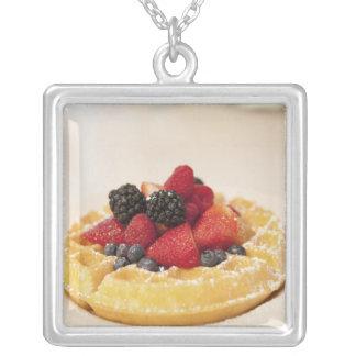 Fresh fruit waffle square pendant necklace