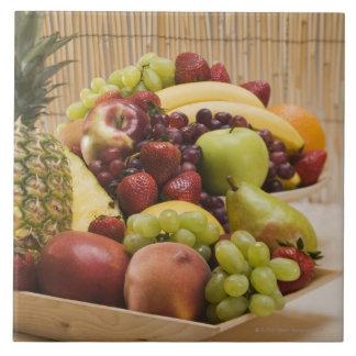 Fresh fruits large square tile