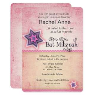 Fresh, Fun Bat Mitzvah Invitation in Pink and Purp