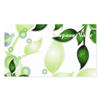 Fresh Garden Leaves on White Business Card Template