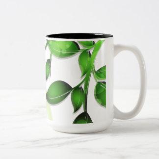 Fresh Garden Leaves on White Coffee Mug