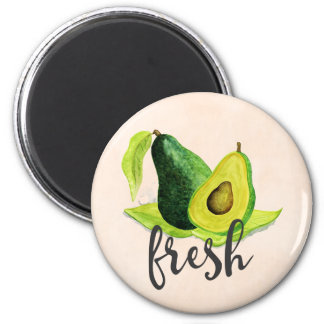 Fresh Green Avocado Still Life Fruit in Watercolor 6 Cm Round Magnet