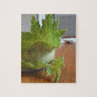 Fresh green hazelnuts on a wooden table jigsaw puzzle