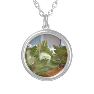 Fresh green hazelnuts on a wooden table silver plated necklace