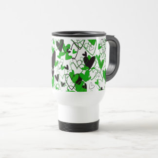 Fresh Green Hearts Strong Impressive Illustration Travel Mug