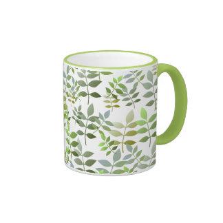 Fresh Green Leaves Pattern Coffee Mug