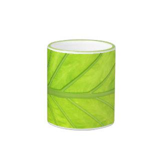 Fresh Green Nature Leaf Art Ringer Mug