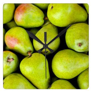 Fresh Green Pears Square Wall Clock