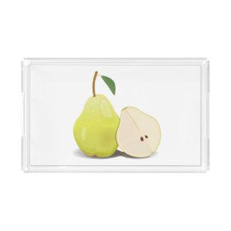 Fresh Green Skinned Pear Acrylic Tray