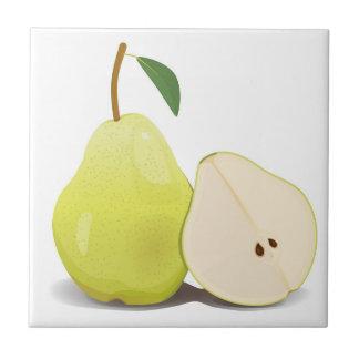Fresh Green Skinned Pear Ceramic Tile