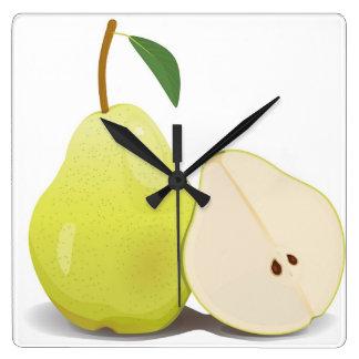 Fresh Green Skinned Pear Square Wall Clock