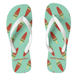 Fresh Green Summer Watermelon Ice Pop Flip Flops
