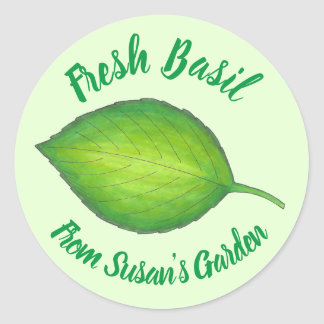 Fresh Home Grown Basil Herb Personalized Garden Classic Round Sticker