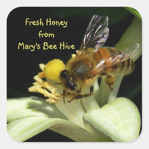 Fresh Honey Bee Hive Square Labels Square Sticker