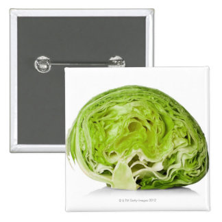 Fresh iceberg lettuce cut in half, on white 15 cm square badge