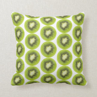 Fresh kiwi fruit background. Round slices pattern Cushion