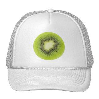 Fresh kiwi fruit. Round slice closeup isolated Cap