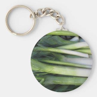 Fresh leeks basic round button key ring