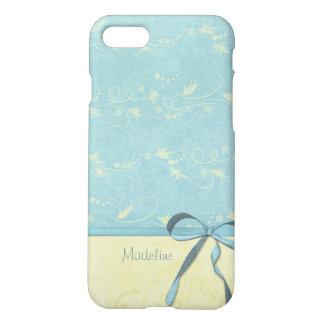 Fresh Lemon Vines on Blue Custom Personalized Name iPhone 7 Case