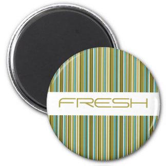 Fresh Lime Green Stripes Magnet Refrigerator Magnet